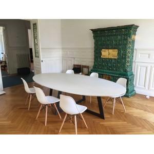 Table de salle à manger Céramique Carat blanc mat