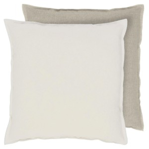 Coussin carré lin Brera Lino Alabaster uni beige/blanc Designers Guild