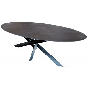 Table repas Céramique ovale Versatil Black iron