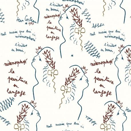 Papier peint vinyle Ecriture Indigo, Lelièvre
