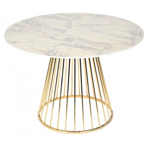 Table repas ronde Florence marbre blanc