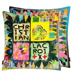 Coussin Arlecchino Wood Multicolore Christian Lacroix en velours 50 cm