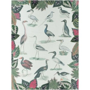 Plaid Birds of a Feather Parchment John Derian en lin 130 x 180 cm