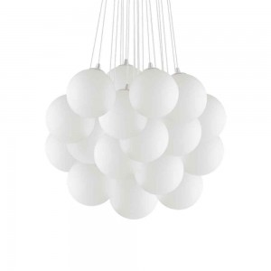 Suspension ronde Mapa Ø80 Ideal Lux aux 22 globes blancs serrés