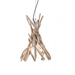 Suspension ronde Driftwood Ideal Lux en branches de bois naturel Ø35cm