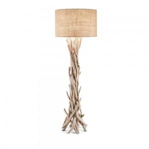 Lampadaire Driftwood Ideal Lux en bois flotté et abat-jour beige