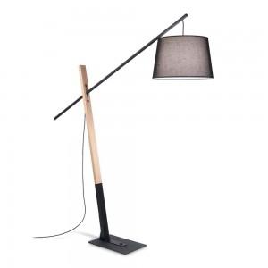 Lampadaire Eminent Noir Ideal Lux en métal noir et bois naturel