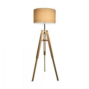 Lampadaire Klimt Ideal Lux 3 pieds en bois naturel abat-jour beige