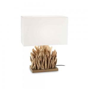 Lampe Snell Ideal Lux en bois flotté et abat-jour blanc