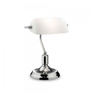 Lampe de bureau Lawyer Ideal Lux finition métal chromé diffuseur blanc