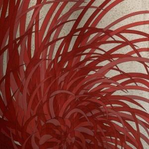 Panneau tissu Kyojin rouge et beige K3 design by Kenzo Takada 320 cm