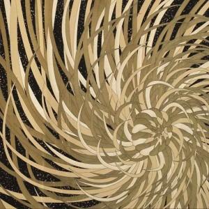 Panneau tissu Kyojin noir et beige K3 design by Kenzo Takada 320 cm