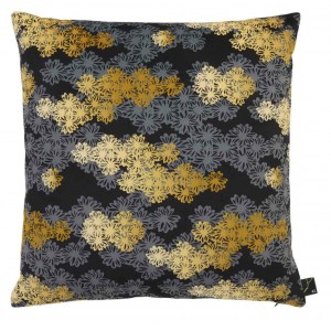 Coussin carré fleuri noir gris jaune Hana Kiriko K3 by Kenzo Takada