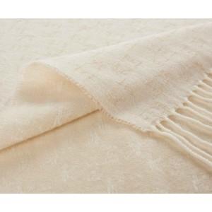 Plaid frangé Koko en laine et cachemire ivoire K3 by Kenzo Takada