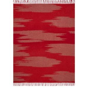 Plaid frangé Kami rouge en laine motif grands nuages K3 by Kenzo Takada