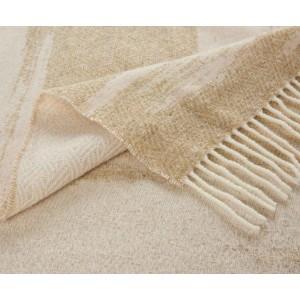Plaid frangé Kami ivoire en laine motif grands nuages K3 by Kenzo Takada