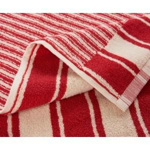 Drap de bain à rayures réversible Jima rouge/ivoire K3 by Kenzo Takada