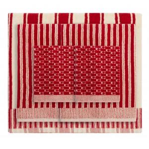Set de bain éponge 5 pièces Jima rouge/ivoire K3 design by Kenzo Takada