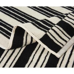 Drap de bain à rayures réversible Jima noir/ivoire K3 by Kenzo Takada
