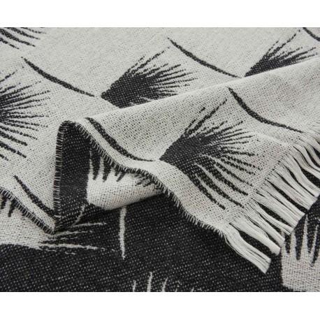 Plaid Edeum en laine noir et blanc réversible K3 by Kenzo Takada