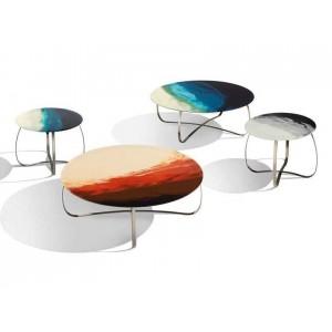 Tables design ronde Holly Art Glass en résine sur verre Missoni Home