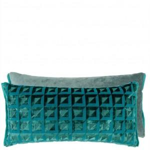 Coussin Monserrate Ocean en velours bleu/vert Designers Guild