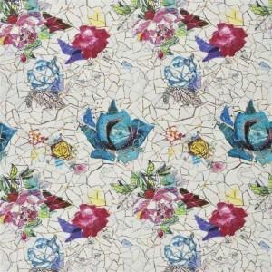 Tissu Éclats de Roses posées sur un motif en mosaïque Christian Lacroix