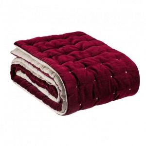 Jeté de lit Elise rouge griotte en velours de coton piqué main Vivaraise