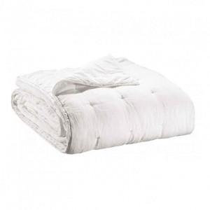 Jeté de lit en lin blanc finition points de broderie Vivaraise