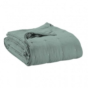 Jeté de lit en lin vert de gris finition points de broderie Vivaraise