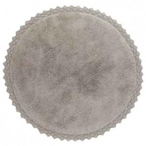Tapis enfant rond Perla gris en coton uni finition crochet Nattiot