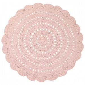 Tapis enfant rond rose en coton crocheté Alma Nattiot
