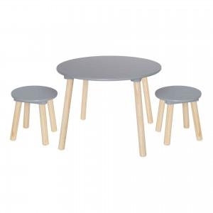 Table + 2 tabourets gris pour chambre d'enfant JaBaDaBaDo