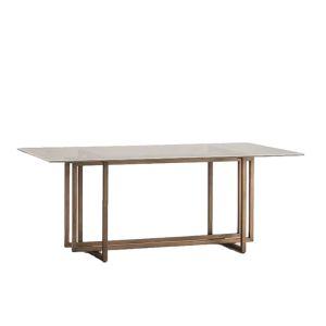 Table repas rectangulaire en verre et piètement bronze 190cm,Thai Natura