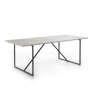 Table repas rectangulaire en marbre blanc et piètement noir 210cm,Thai Natura