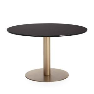Table repas ronde plateau en marbre noir et piètement métal doré,Thai Natura