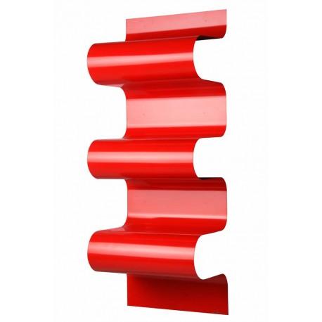 Bibliothèque design ondulée rouge brillant, Vidame