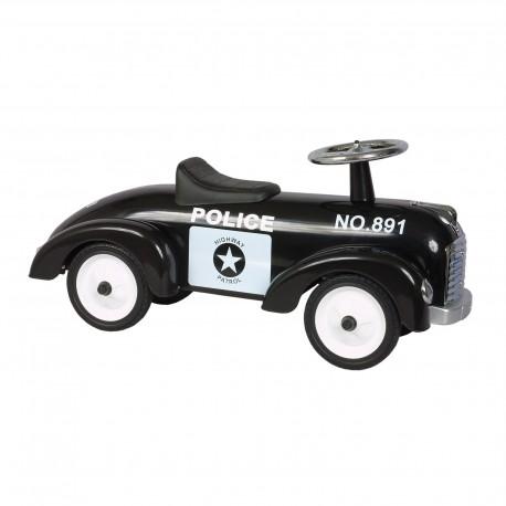 Porteur noir réplique de voiture ancienne de police en métal