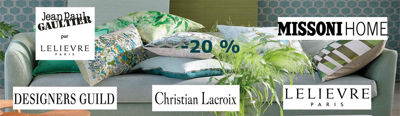 -20% sur Designers Guild, Missoni Home, Lelievre, Jean Paul Gaultier et Christian Lacroix